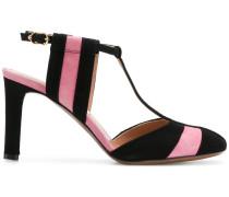 striped T-bar sandals