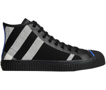 Canvas Check and Leather High-top Sneakers