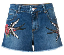 Jeans-Shorts mit Schwalben-Patches