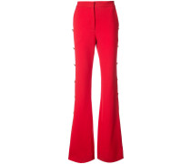 button embellished bootcut trousers