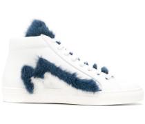 High-Top-Sneakers mit Pelzbesatz
