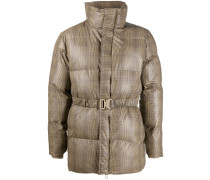 checkered belted puffer jacket