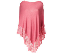 scalloped lace trim knitted poncho