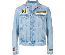 Jeansjacke mit geometrischer Stickerei
