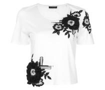 T-Shirt mit floralen Stickereien