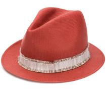 Gewebter Hut mit ausgefranstem Band