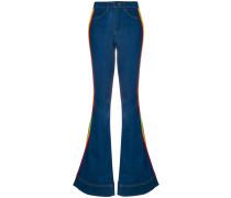 Bootcut-Jeans mit dekorativen Streifen