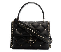 black candystud leather top handle bag