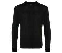 notched collar crew neck sweater