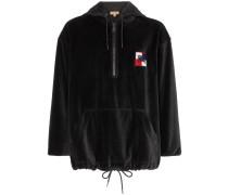 Logo patch velour hooded sweatshirt