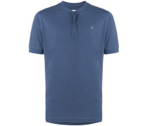 logo collarless polo shirt