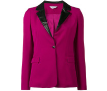 faux leather trim blazer