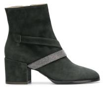 bead embellished chunky heel boots