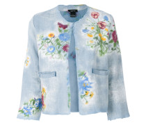 Cropped-Jacke mit floralem Print