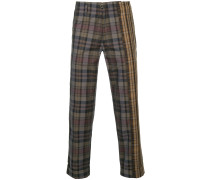 two-tone plaid print cropped trousers