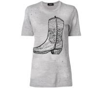 cowboy boot print T-shirt