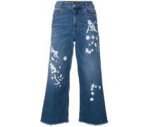 Cropped-Jeans mit Farbklecks-Print