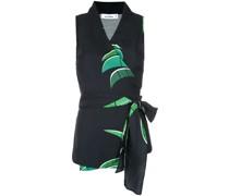 tropical print wrap style blouse