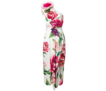 peony-print off shoulder dress