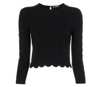 scalloped hem knitted jumper