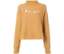embroidered mock neck sweatshirt