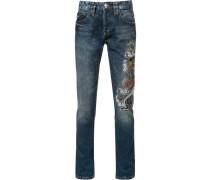 Slim-Fit-Jeans mit Stickerei