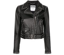 studded pebbled biker jacket