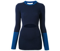 Gerippter Pullover mit Cut-Out