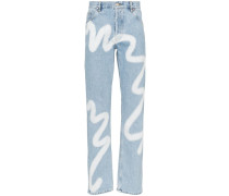 Gerade Jeans mit Print