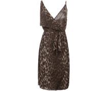 Schmales Seidenkleid mit Leoparden-Print