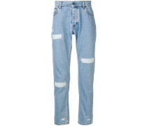 Tapered-Jeans mit Distressed-Details