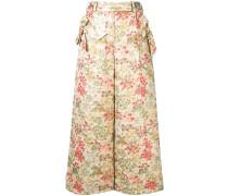 Cropped-Hose aus Brokat