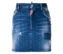 Jeansminirock in Distressed-Optik
