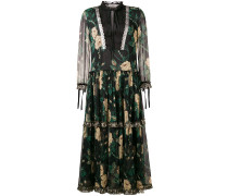 floral long-sleeve flared dress