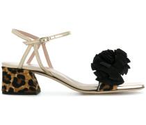 Metallic-Sandalen mit Leoparden-Absatz