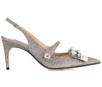 embellished glitter slingback pumps