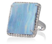 18kt Weißgoldring mit Opal und Diamanten