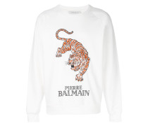 Sweatshirt mit aufgesticktem Tigermotiv