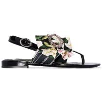 Sandalen mit geblümter Schleife