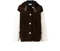 contrasting sleeve shearling jacket