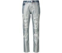 Boyfriend-Jeans mit Glitzereffekt