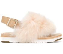 fur appliqué sandals