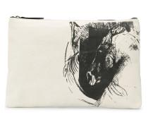 Clutch mit Skizzen-Print