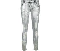 Skinny-Jeans im Metallic-Look