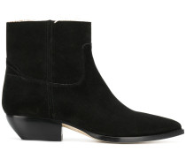 frayed-edge pointed ankle boots