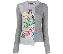 asymmetric floral embroidered sweater