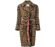 Doppelreihiger Mantel mit Leoparden-Print