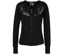 lace-detail zipped fitted hoodie