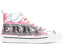 doodle print high-top sneakers