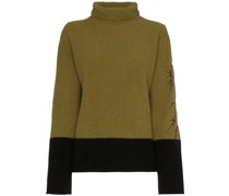 chunky contrast roll neck jumper